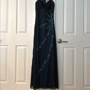 Long black and blue dress